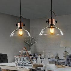 MSTAR Glass Ceiling Pendant Light, Industrial Antique Copper Metal Edison Ceiling Hanging Light with Clear Glass Copper Light Fixture, Copper Lighting, Industrial Pendant Lights, Kitchen Pendant Lighting, Mini Pendant Lights, Glass Pendant Light, Ceiling Pendant, Kitchen Pendants, Pendant Lamp