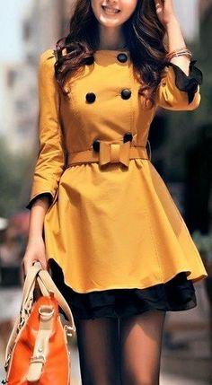 Mustard yellow coat. love love love this jacket.