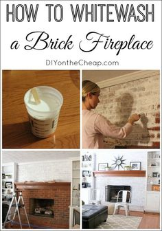 Have you ever wondered how to whitewash a brick fireplace? we decided to do this to our dated brick fireplace, and today i'll walk you through the entire White Wash Brick Fireplace, Fireplace Update, Paint Fireplace, Brick Fireplace Makeover, Home Fireplace, Fireplace Remodel, Fireplace Ideas, Brick Fireplaces, Fireplace Whitewash