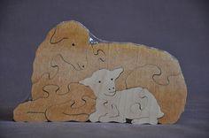 Mutterschaf mit Lamm Ostern Schaf Tier Puzzle Holz Spielzeug Hand Cut mit Dekupiersäge
