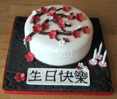 Zen cherry blossom birthday cake - La Forge à Gâteaux