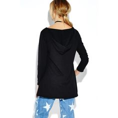 Yoins Black Cable Hanky Hem Hooded Shirt (125 HKD) ❤ liked on Polyvore featuring tops, lace up shirt, long sleeve plunge top, boyfriend shirt, lace up front top and lace up top