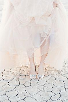 Blush Reem Acra wedding dress | Kristen Joy Photography | see more on: http://burnettsboards.com/2015/01/dry-lake-bed-bridal-inspiration-shoot/