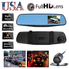"﹩26.97. Dual Lens Car Rearview DVR Dash Cam Camera Vehicle Front Rear Video Recorder USA   Type - Dash Camera, Screen Size - 4.3"" TFT, Features - HD 1080P, Parking Mode, G-sensor, Loop Recording, G-Senson - Built-in, Camera Lens - CH1 ( Front ): 170°, CH2 ( Rear ): 140°, Loop Video - Support ( Seamless Loop Video, No Leakage ), Microphone / Speaker - Built - in, Video Format - H.264, Resolution - 1080P, G-Sensor - Built-in, Motion Detection - Support, Memory Card - Micro SD/TF Card"
