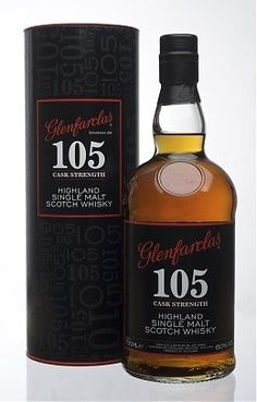 The Glenfarclas 105 Cask Strength, single malt highland scotch. One of the best scotches we tasted in Scotland