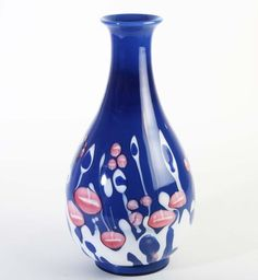 Murano Glass Cenedese vase blue opaque abstract flower decor Ermanno Nason Discover us: http://stores.ebay.com/design-and-arts