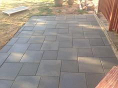 Patio of inexpensive concrete pavers                                                                                                                                                      More