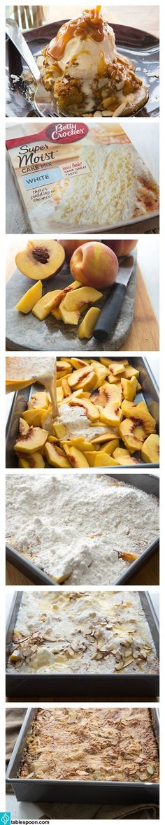 Peach Dump Cake - quick and simple, this delicious peach cake is the perfect way to enjoy fresh spring peaches. Just dump in the ingredients, bake and serve! Köstliche Desserts, Delicious Desserts, Yummy Food, Tasty, Cake Recipes, Dessert Recipes, Dump Recipes, Nutella Recipes, Peach Cake