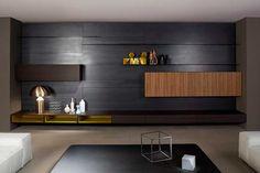 | 48 chimeneas modernas para la separación de espacios Built Ins, Bookshelves, Office Desk, Furniture, Home Decor, Study, Ideas, Cable Grommet, Modern Fireplaces