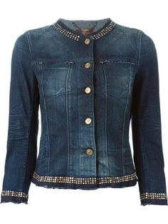 Shop 7 For All Mankind studded denim jacket Jean Jacket Design, Designer Denim Jacket, Seven Jeans, Studded Denim Jacket, Denim Ideas, Denim And Lace, Jean Outfits, Custom Clothes, Jackets For Women