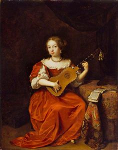 Caspar Netscher (Dutch, 1639-1684). A Young Lady Playing the Guitar. The Wallace Collection