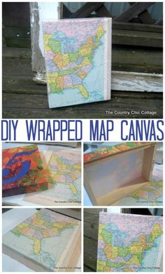 Make a map canvas for your home decor in minutes with this DIY tutorial.  An easy and inexpensive way to decorate your farmhouse style home.  #map #maps #farmhouse #farmhousestyle #decor #homedecor