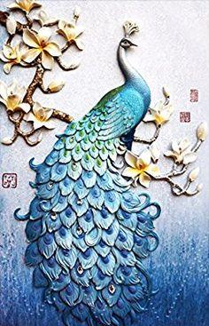 Amazon.com: Faraway Peacock 5D DIY Crystal Diamond Rhinestone Painting Pasted Paint By Number Kits animal FULL diamond mosaic 40x70cm (Blue2): Home & Kitchen