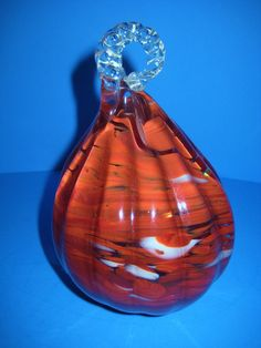 Heavy Art Glass Puffy Pear Shape Decor Burnt Orange Swirl Clear Twist Stem