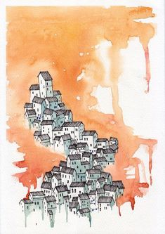 Original, Whimsical Pen and Ink Watercolor Illustration. Italian Village in Orange and Teal.