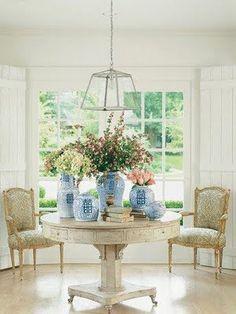 blue and white ginger jars.