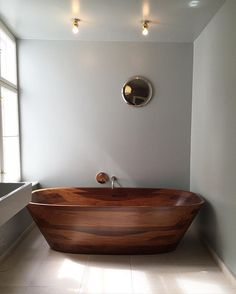 Never knew we needed a wooden bathtub until now...  Epic decor inspiration from…