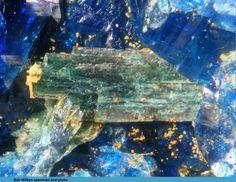 Gormanite-Souzalite, Charles Davis Mine, N. Groton, NH, USA. Specimen Size: 2.3 mm. lath of gormanite-souzalite crystals in scorzalite. Bob Wilken specimen/photo