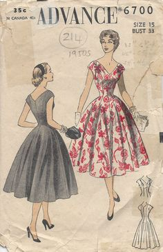 "1950s Vintage Sewing Pattern DRESS B33"" (214) - if anyone has this pattern pleaaase share :)"