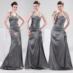 2013 Bridesmaid Formal Gown Prom Party Evening Cocktail Long Halter Pleat Dress #GraceKarin #BallGown #Formal