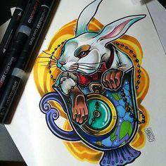 Awsome White Rabbit tattoo design by @candela_pajaro_tattoo using her Chameleon Pens! #tattoo #tattoodesign #aliceinwonderland #whiterabbit #whiterabbittattoo #art #artwork #color #colour #colouring #coloring #chameleonpens