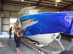 boat wrap in progress