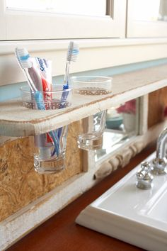 Perfect for the bathroom! I would have never thought of this! My husband always knocks over our tooth brush holder!