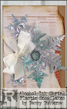 Alcohol Ink Shrink Plastic Snowflakes by Tammy Tutterow | www.rangerink.com
