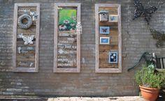 """met pallet hout en houten lijsten( was bestemd voor onze hout kachel) en met goede ideeen van'"""" welke """"is dit het resultaat geworden"""