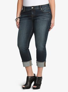 Torrid jeans, medium wash boyfriend style, capri length with flipped hem. Comfortable and versatile. Want!
