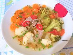 Reteta culinara Ciorba de porc cu conopida si broccoli din categoria Supe/Ciorbe. Specific Romania. Cum sa faci Ciorba de porc cu conopida si broccoli Meat, Chicken, Pork, Beef, Cubs