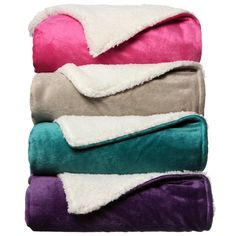 This gorgeous throw is available in the solid color options of fuchsia, peacock, purple or taupe. Super soft and warm, this bright throw is great to snuggle with on a cold chilly night.