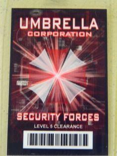 HALLOWEEN COSTUME MOVIE PROP - ID Security Badge Umbrella Corporation (Resident Evil)