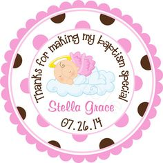 Our Little Angel Baby Girl Personalized Stickers  by partyINK, $6.00