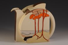 A tea for six size stamford shape teapot beautifully decorated in Coral firs. This will date to 1934 and shows the whole of the design including Art Deco Decor, Art Deco Era, Art Deco Design, Clay Teapots, Teapots And Cups, Teapot Cookies, Teapots Unique, Clarice Cliff, Art Deco Furniture