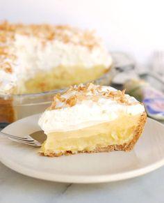 pina colada pie with rum whipped cream