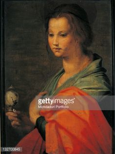 Fine art : Half figure of Mary Magdalene, by Andrea DAgnolo known as Andrea del Sarto, 16th Century, oil on panel, cm 55 x 41.