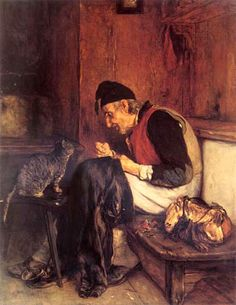 Old Man that Sews by Nikolaos Gyzis (Greek, oil on canvas. (Also seen as Nicholas Gysis. Illustrations, Illustration Art, Greek Paintings, Baroque Art, Greek Art, Sewing Art, Art Database, Chiaroscuro, Beautiful Paintings
