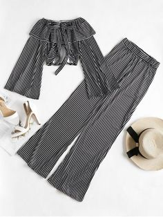 Fall and Spring and Summer Striped Pleated Elastic High Long Off Regular Elegant Beach Bell Sleeve Crop Top Palazzo Pants Matching Set Teen Fashion Outfits, Stylish Outfits, Cool Outfits, Girl Fashion, Dresses Kids Girl, Kids Outfits Girls, Teenager Outfits, Bell Sleeve Crop Top, Vetement Fashion