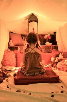 Kid's peace tent. This would be a great idea...have a special place that the kids can go to relax on their own whenever they feel the need to!