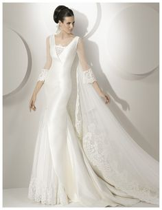 Buy 2014 Stylish A-line V-neck 3/4 Length Sleeves Chapel Train Lace Wedding Dress Online Cheap Prices