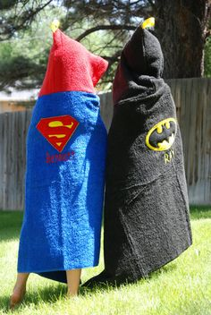 Super hero hooded towel personalized Super by MelissasStitches Sewing Men, Baby Sewing, Sewing Clothes, Sewing Projects For Kids, Sewing For Kids, Hooded Bath Towels, Towel Crafts, Baby Towel, Baby Crafts