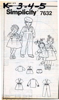 1980s PATTERN Boys Girls Dolls Overalls Top Skirt sz 3 4 5 Cabbage Patch doll #Simplicity #gatheredwaistDollclothestomatch