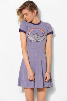 Lazy Oaf Dolphins Are Fun Fit + Flare Tee Dress Lila, Lilac, purple, violet Cute! Casual Outfits, Cute Outfits, Full Circle Skirts, Tee Dress, Lazy Oaf, Playing Dress Up, Fit And Flare, Dress To Impress, Fashion Dresses