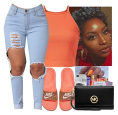 Orange by genevieve-an on Polyvore featuring polyvore fashion style NIKE clothing