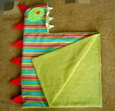 Toddler or Baby Hooded Green Monster Towel - Fabric-Lined, Soft, Warm, Fun