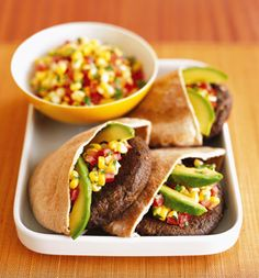 Portobello-Black Bean Burgers With Corn Salsa.