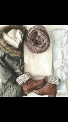 Creme sweater knit scarf bleached jeans brown boots and cute winter light parka coat