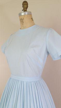1950s Blue Dress • FRESH AIR Dress • Short Sleeved Cotton Dress • Vintage 50s Day Dress • Small by ThriftyVintageKitten