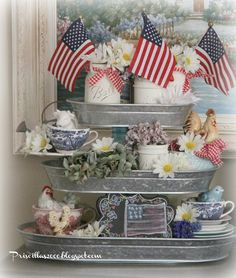 Priscillas: galvanized tiered tray from Sam's decorated in a Patriotic theme.